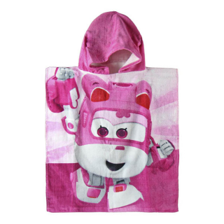 Pončo Super Wings pink 50/115 cm